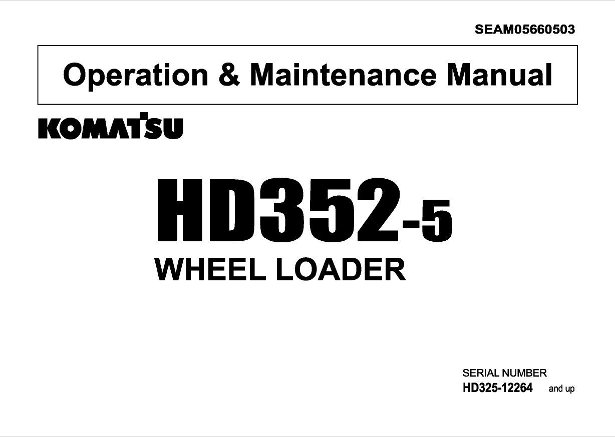 Komatsu Wheel Loader HD 352-5 Manual PDF