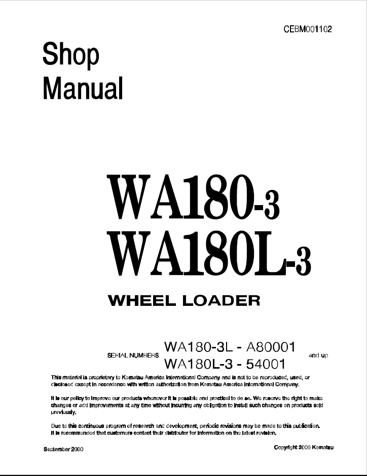Komatsu Wheel Loader WA180-3, WA180L-3 Manual