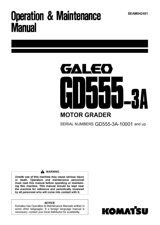 Komatsu Galeo GD555-3A Motor Grader Manual PDF