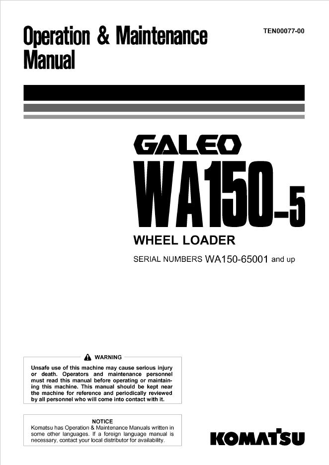 Komatsu Galeo WA150-5 Wheel Loader Manual Download