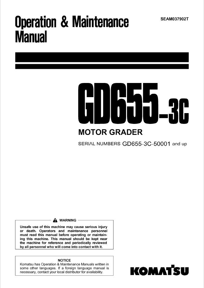 Komatsu Motor Grader GD655-3C Manual PDF