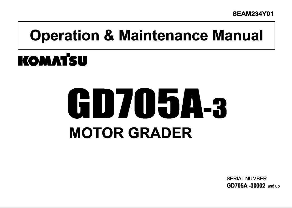 Komatsu Motor Grader GD705A-3 Manual PDF Download