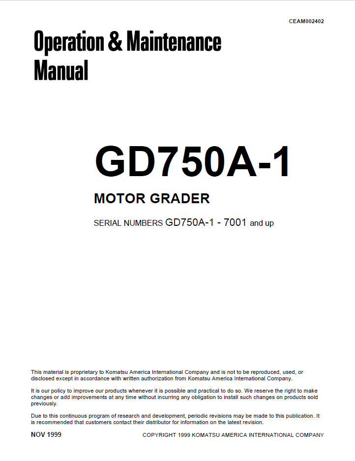 Komatsu Motor Grader GD750A-1 Manual PDF Download