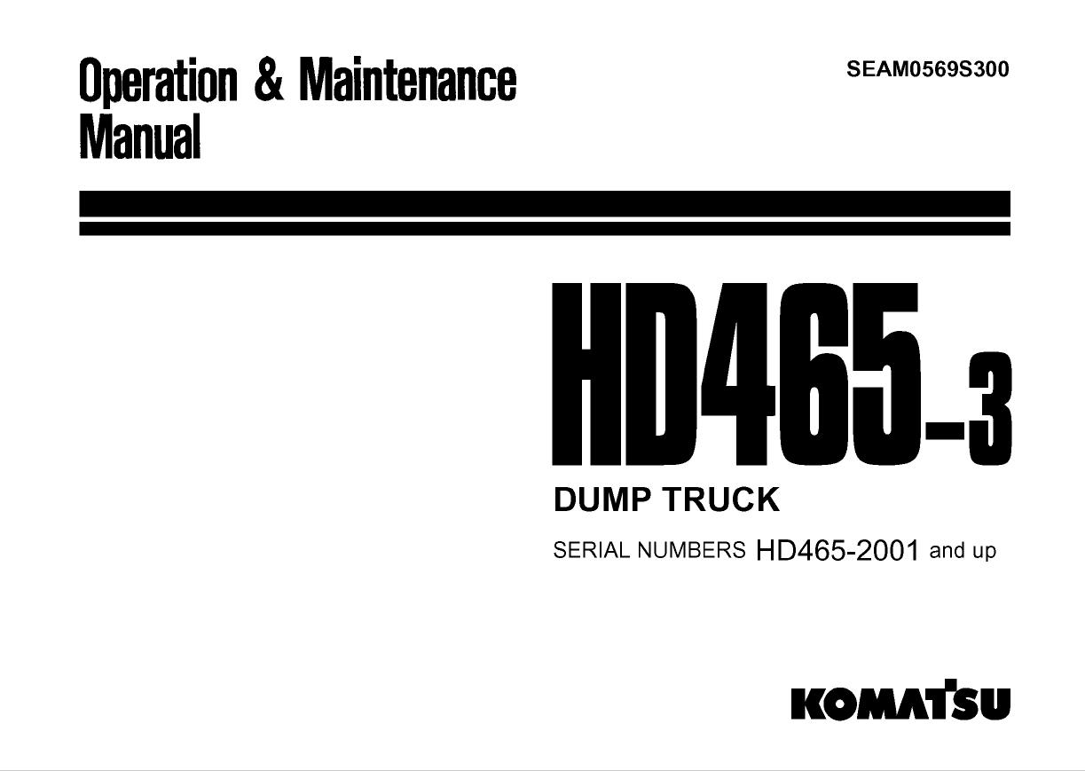 Komatsu Dump Truck HD465-3 Manual PDF Download