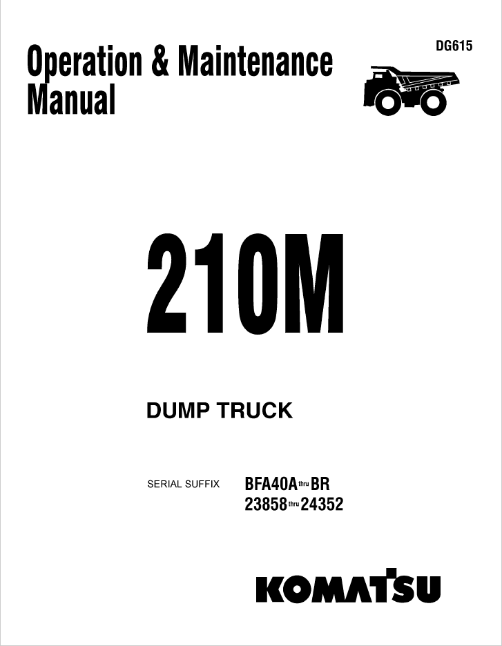 Komatsu Dump Truck 210M Set of Manuals Download