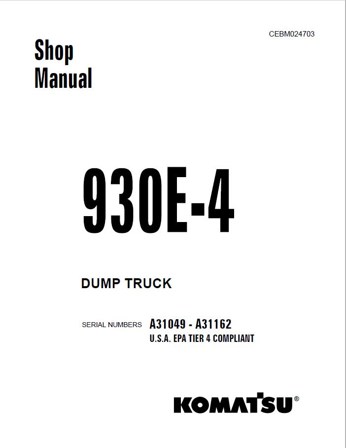 Komatsu Dump Truck 930E-4 Shop Manual PDF Download