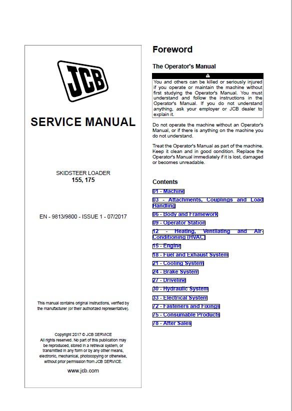 JCB Skidsteer Loader 155, 175 Service Manual PDF Download