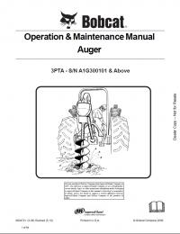 Bobcat Auger 3PTA Operation and Maintenance Manual