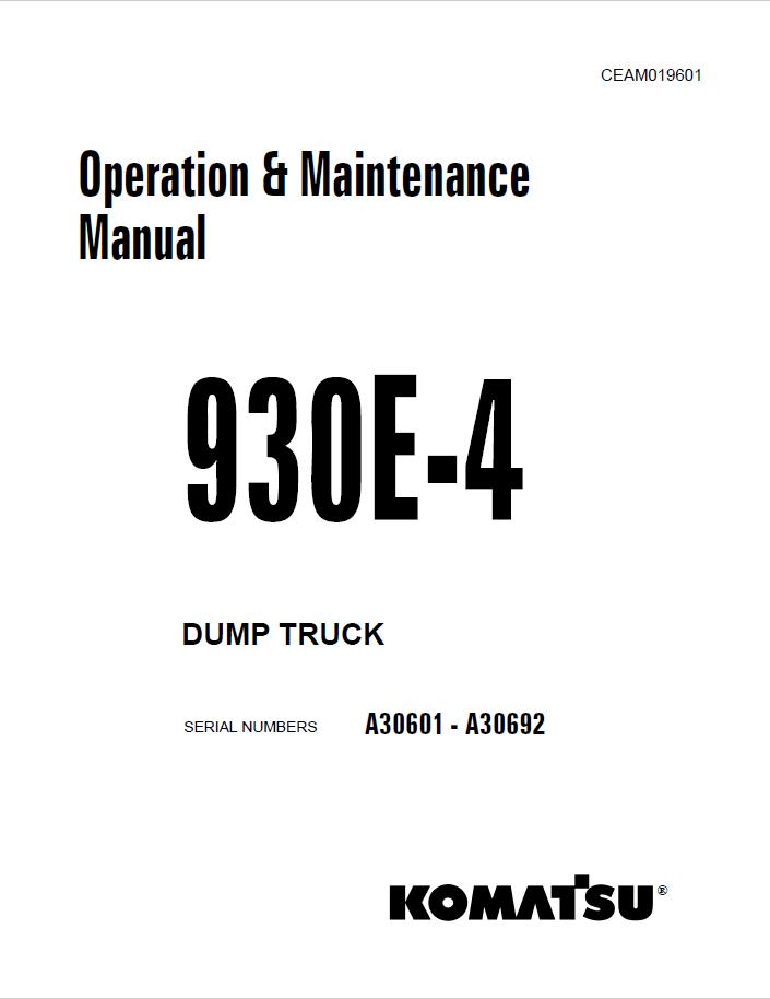 Komatsu Dump Truck 930E-4 Set of PDF Manuals Download
