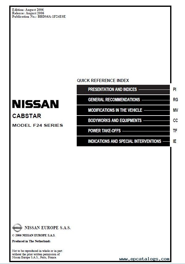 Nissan Cabstar F24 Service Manual Download