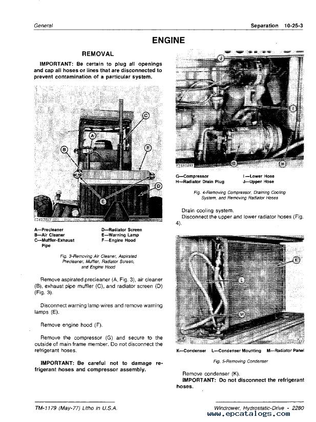 John Deere 2280 Hydrostatic Drive Windrower TM1179 PDF