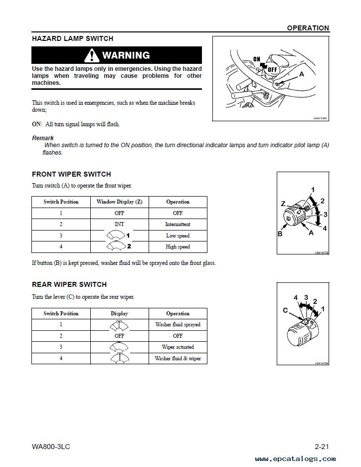 Komatsu Wheel Loader WA800-3LC Manual PDF Download