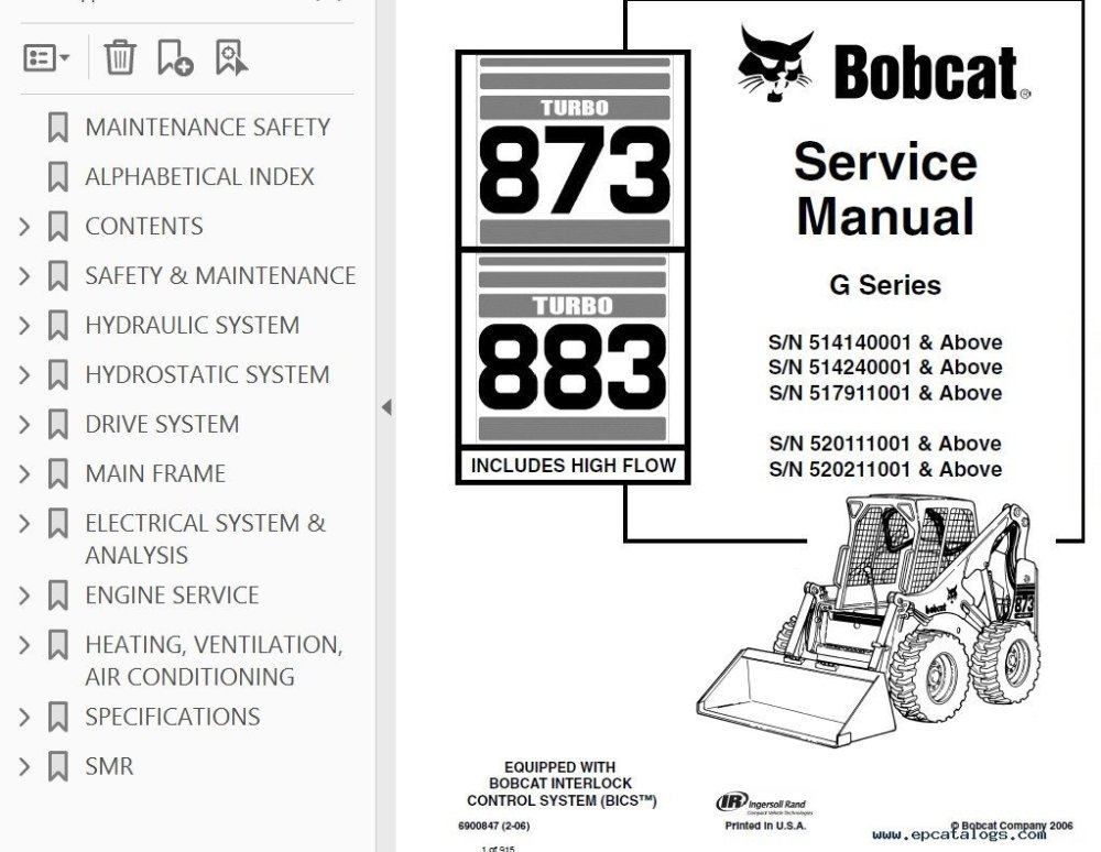 medium resolution of repair manual bobcat 873 883 turbo hf loaders g series service manual pdf 2
