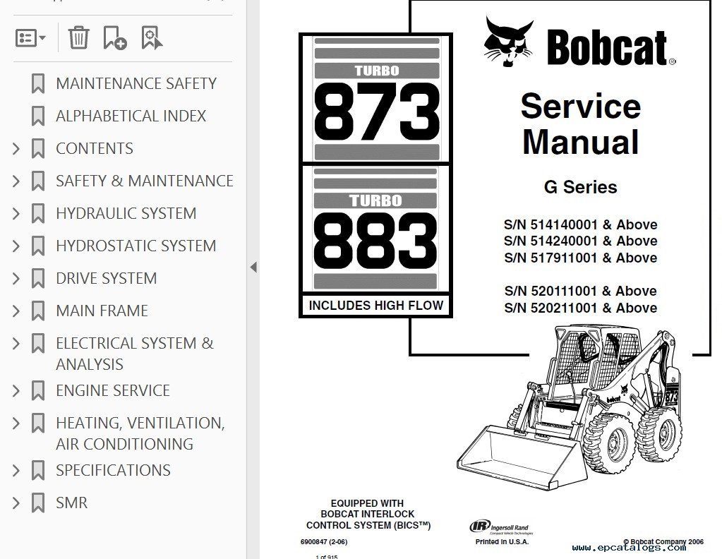 hight resolution of repair manual bobcat 873 883 turbo hf loaders g series service manual pdf 2