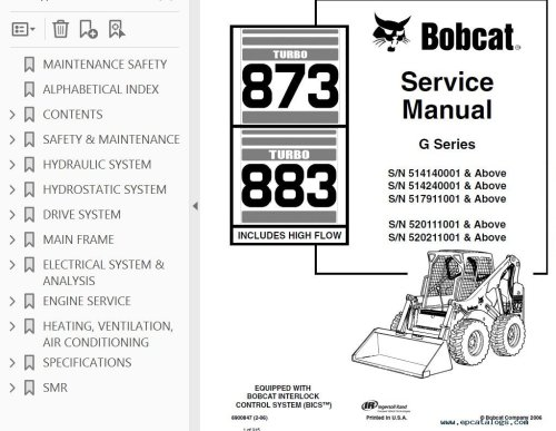 small resolution of repair manual bobcat 873 883 turbo hf loaders g series service manual pdf 2