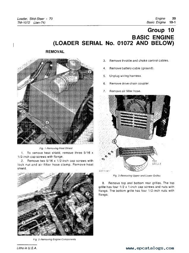 John Deere 70 Skid Steer Loader TM1072 PDF Manual
