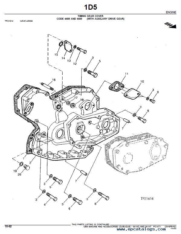 John Deere 6414D/T OEM Engine Accessories Parts Catalog