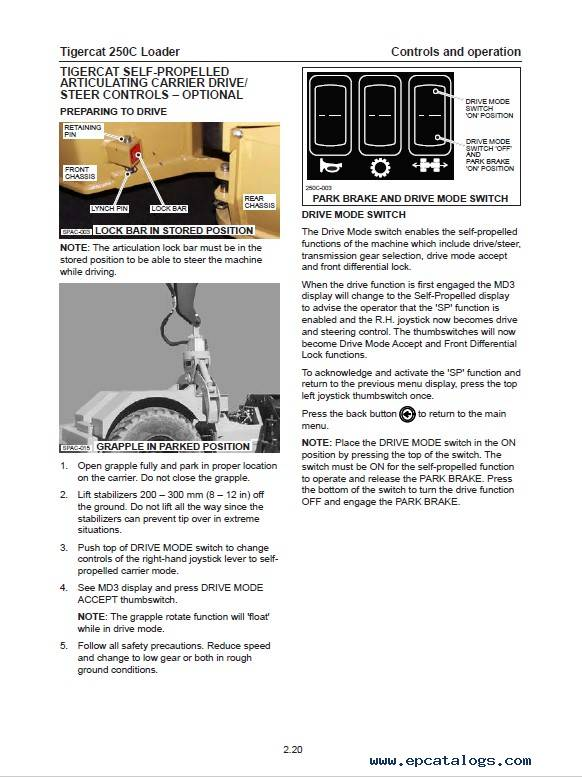 Download Tigercat Loader 250C Operator's Manual PDF