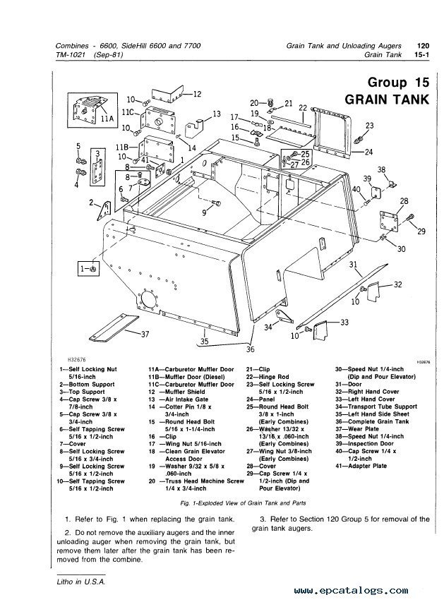 John Deere Side Hill 6600 & 7700 Combines PDF Manual
