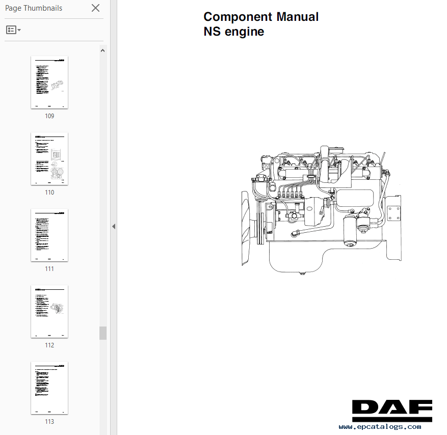 DAF Engine Set of Components Manuals