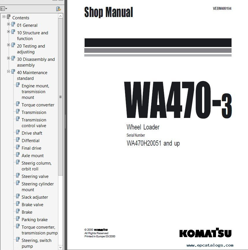 Komatsu WA470-3 Wheel Loader Shop Manuals PDF