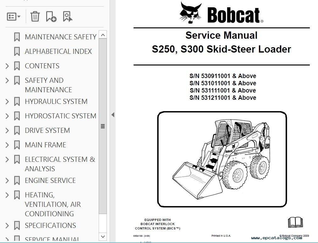 Bobcat S250 S300 Skid Steer Loader Service Manual