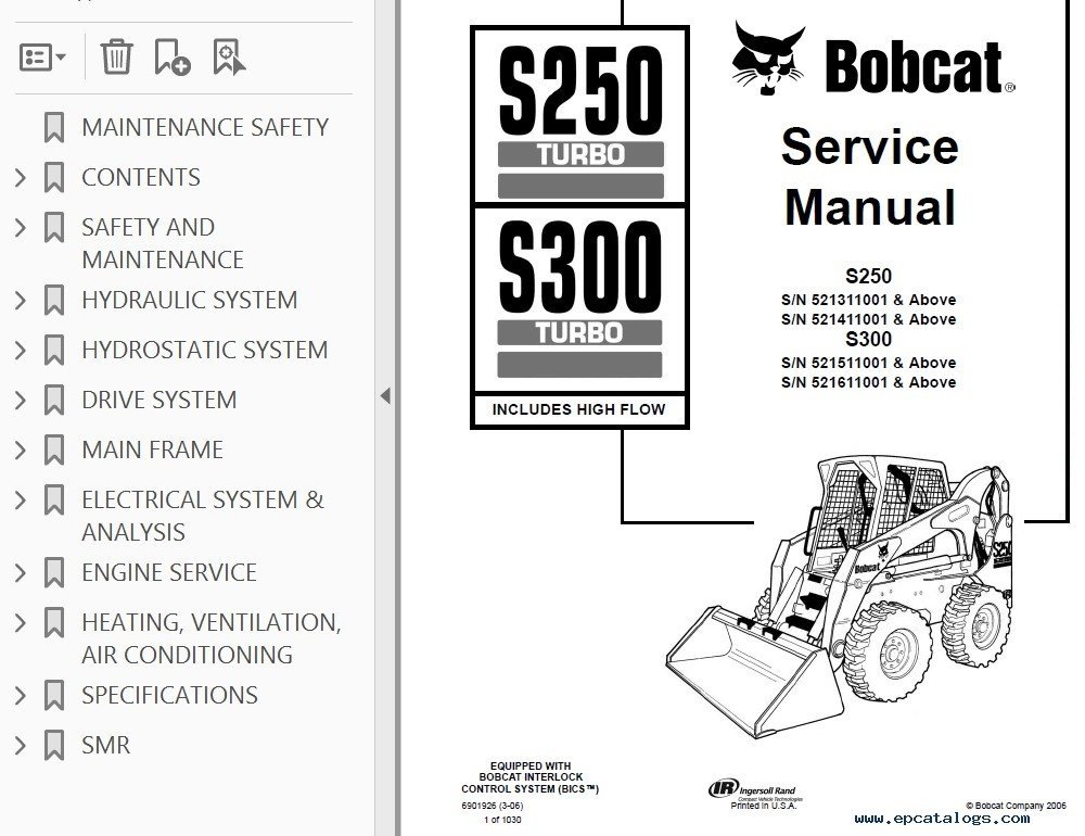 Bobcat S250Turbo S300Turbo HF Loader Service Manual PDF