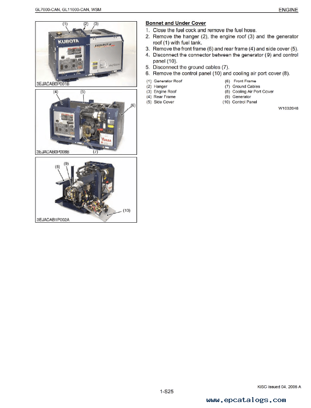 Kubota GL7000/11000-CAN Diesel Generator Workshop PDF