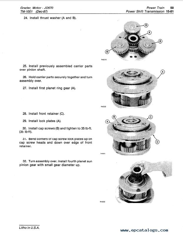 John Deere JD570, JD570A Motor Grader TM-1001 PDF
