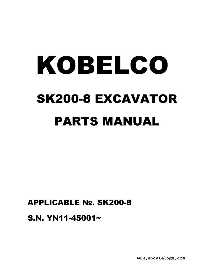 Kobelco Excavator SK200-8 PDF PDF Parts Catalog
