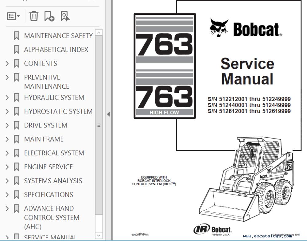medium resolution of repair manual bobcat 763 763 high flow loaders service manual pdf 2