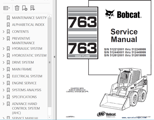 small resolution of repair manual bobcat 763 763 high flow loaders service manual pdf 2