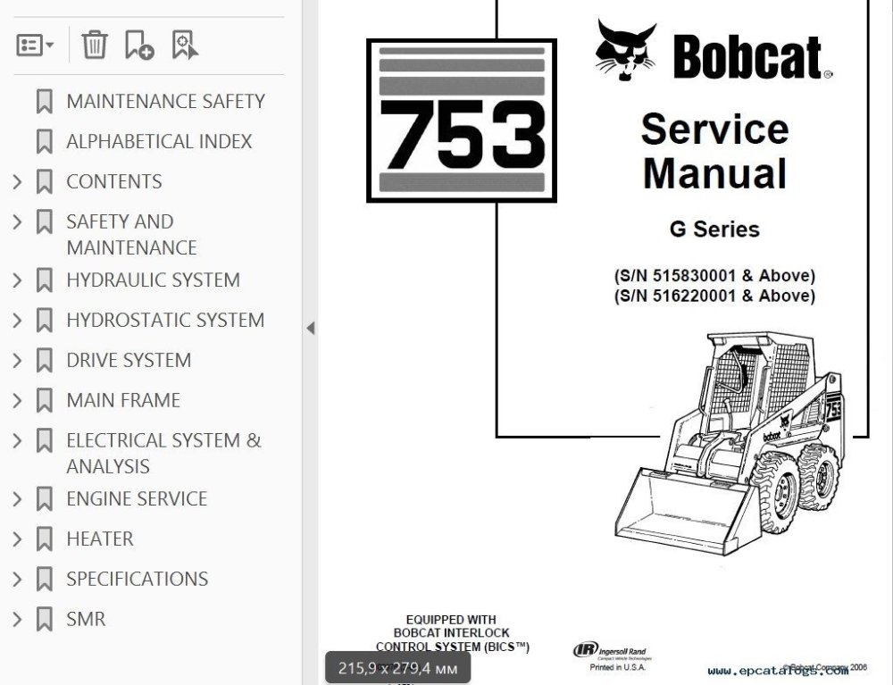 medium resolution of bobcat 753 g series skid steer loader service manual pdf bobcat 753 engine diagram