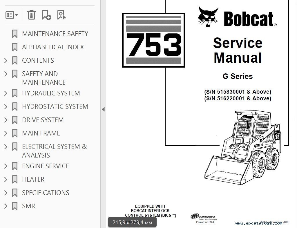 hight resolution of bobcat 753 g series skid steer loader service manual pdf bobcat 753 engine diagram