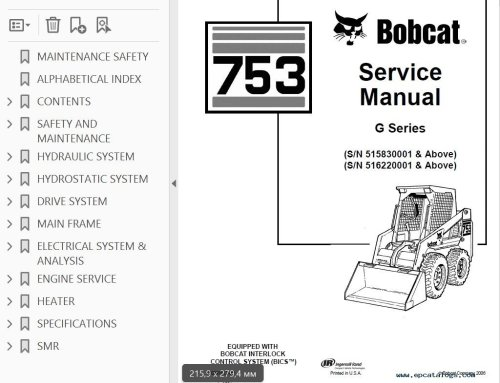 small resolution of bobcat 753 g series skid steer loader service manual pdf bobcat 753 engine diagram