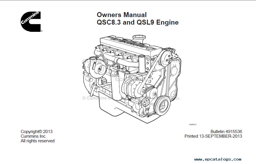 Download Cummins Engine QSC8.3 QSL9 Owner Manual PDF