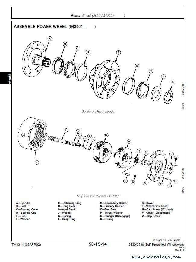 John Deere 3430 3830 Self Propelled Windrower TM1314 PDF