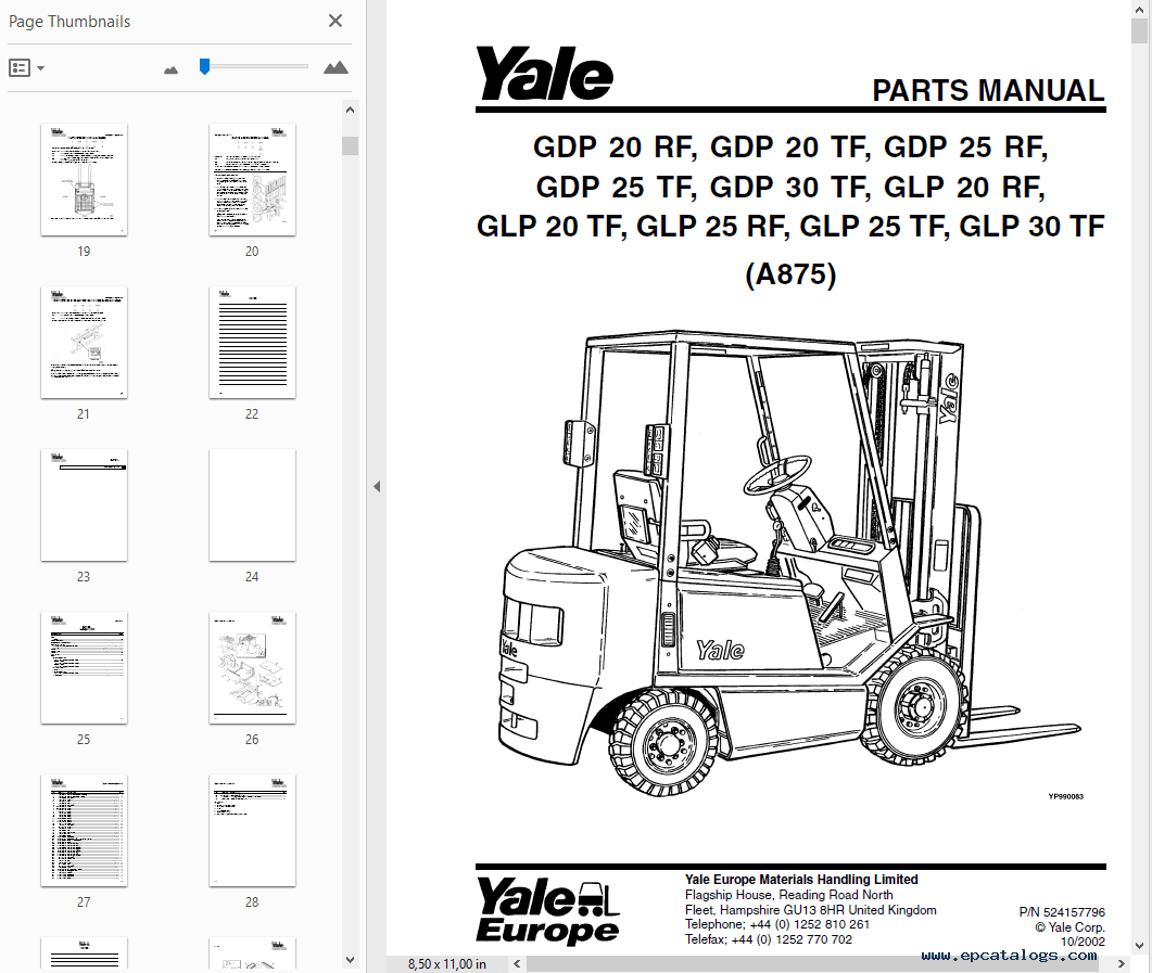 Yale Industrial Trucks Parts Manuals For Europe Region In