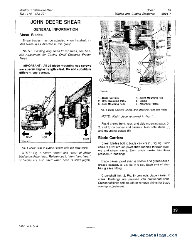 John Deere JD693-B Feller-Buncher TM1170 Technical Manual