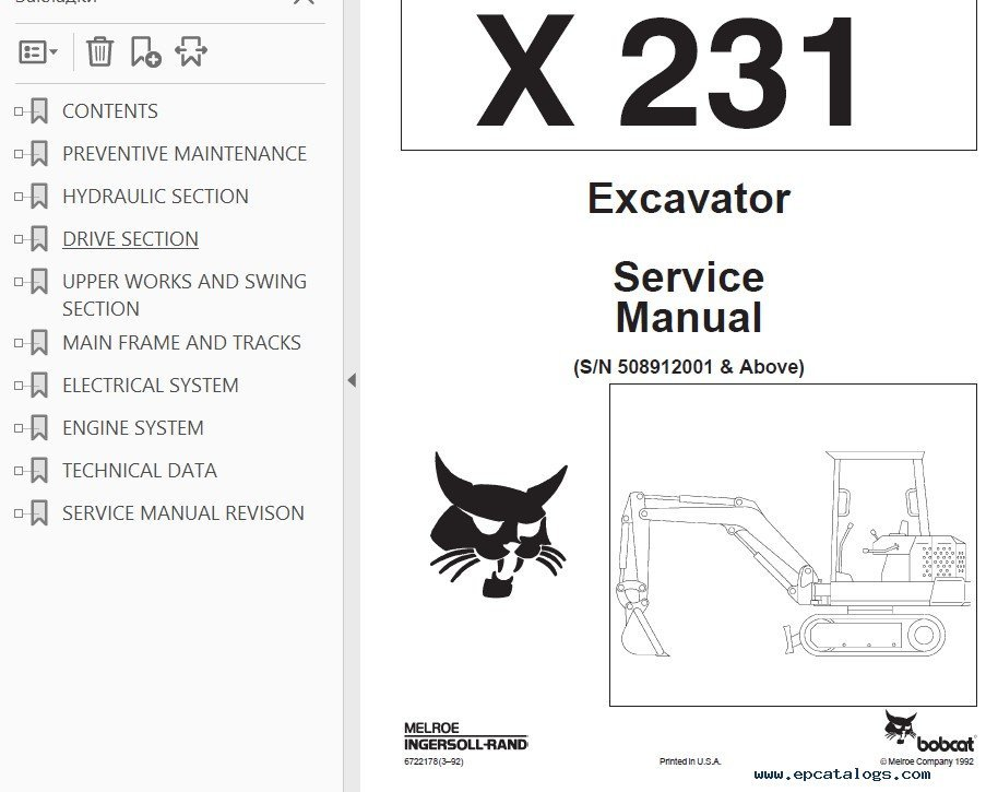Bobcat X 231 Excavator Service Manual PDF