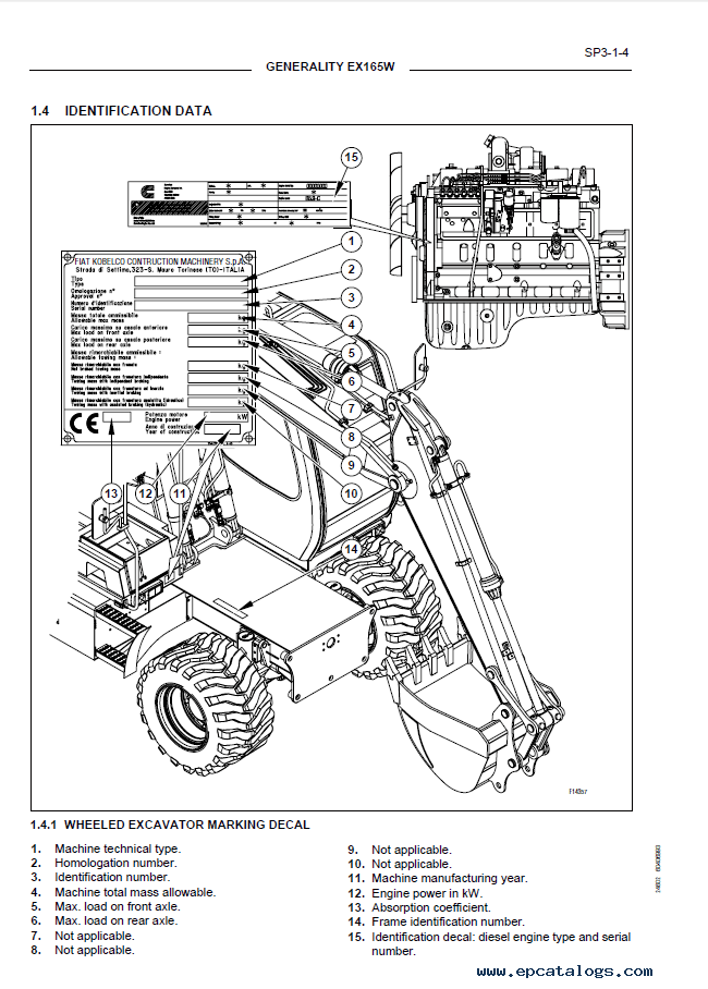 Hitachi Fiat Kobelco Excavator & Engine EX165W PDF Manual