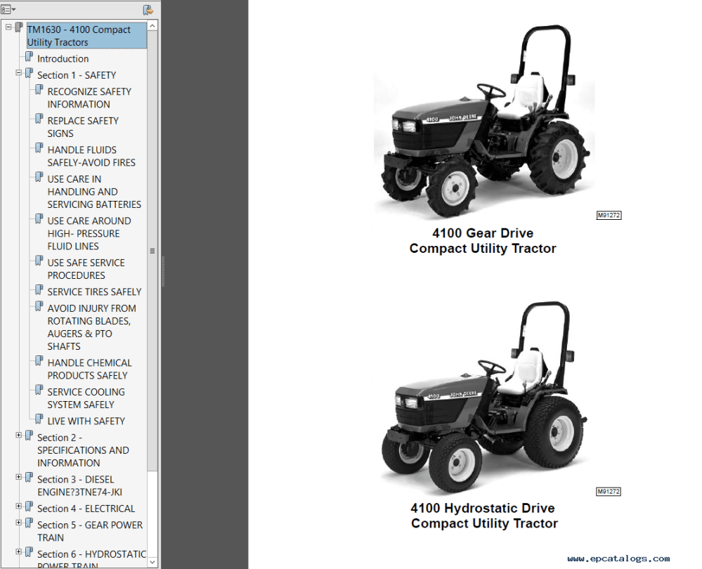 medium resolution of repair manual john deere 4100 tractor compact utility tm1630 technical manual pdf 1