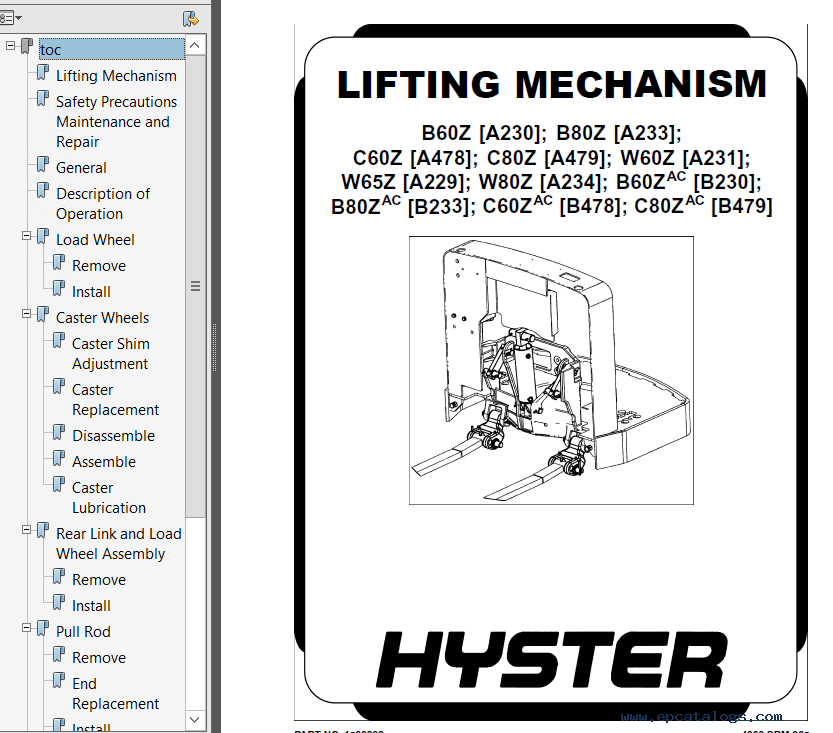 Hyster Class 3 A478 C60Z Electric Motor Hand Trucks PDF
