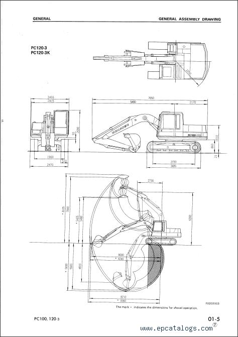 Komatsu Hydraulic Excavator PC100-5, PC120-5, repair