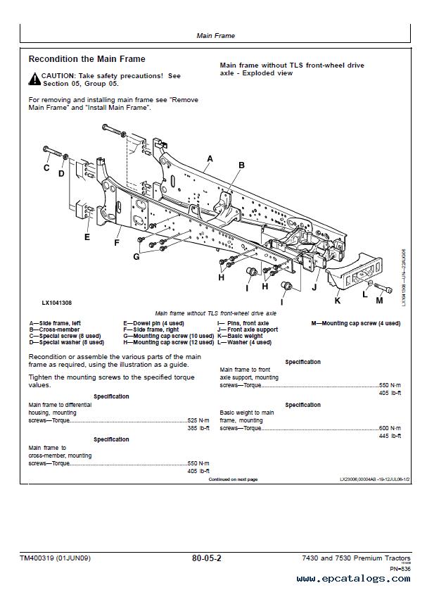 John Deere Premium Tractor 7430 7530 Repair TM400319 PDF