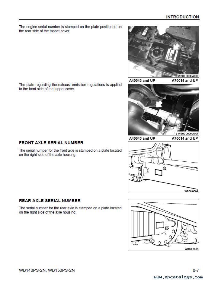 Komatsu Backhoe Loader WB140/150PS-2N Set of Manuals
