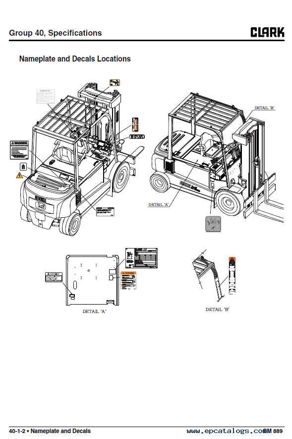 Clark forklift GEX 40/45/50 PDF Service Manual Download