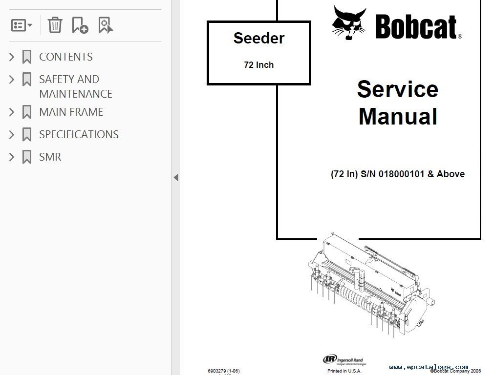 Bobcat 72 Inch Seeder Service Manual PDF