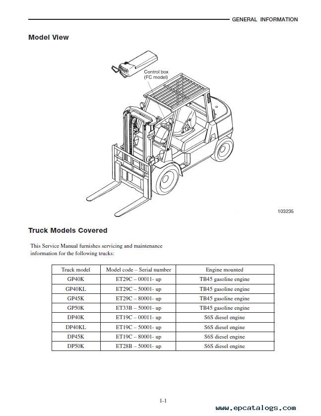 CAT GP40K/KL, GP45/50K, DP40K/KL, DP45/50K Lift Trucks PDF