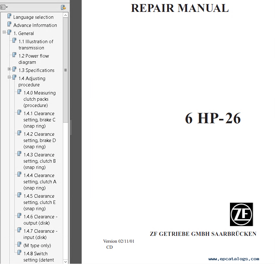 ZF 6 HP-19, 6 HP-26, 6 HP-32 Repair Manual